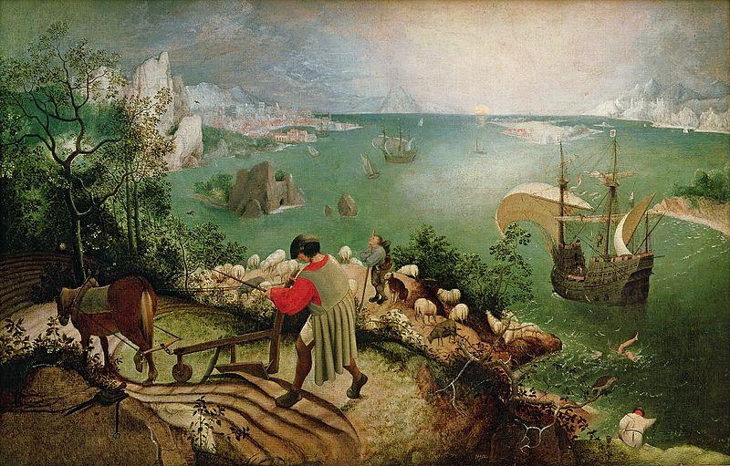 文艺复兴时期画家勃吕盖尔的画作《伊卡洛斯坠落的风景》,描绘希腊